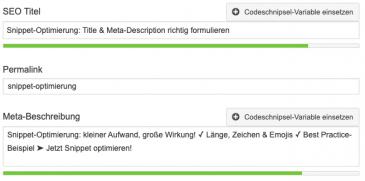 Snippet in WordPress anpassen